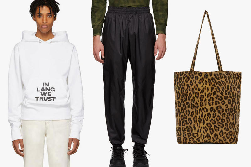 SSENSE Exclusives Helmut Lang, GMBH, WACKO MARIA giveaway tote bag leopard print seher jogger lounge pants brian roettinger hoodie logo trust print graphic
