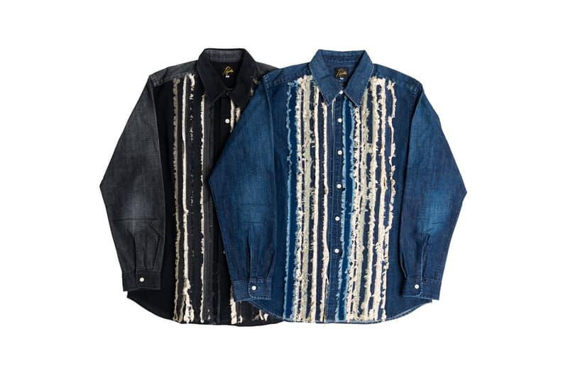needles totokaelo exclusive denim ribbon shirts exclusive washed blue black patchwork japan rebuild