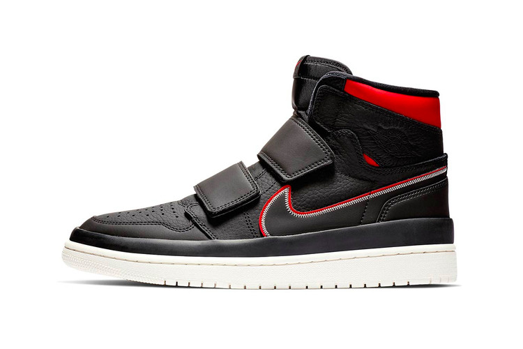 787ffde59feb54 The Air Jordan 1 High Double Strap Gets Done up in Black   Red