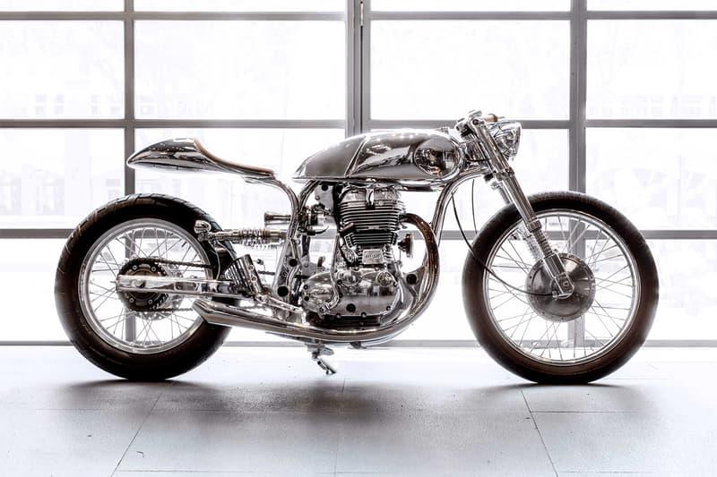 Bandit9 Motors Arthur Cafe Racer Motorcycle hand built mechanical Royal Enfield air-cooled classic vintage antique shiny