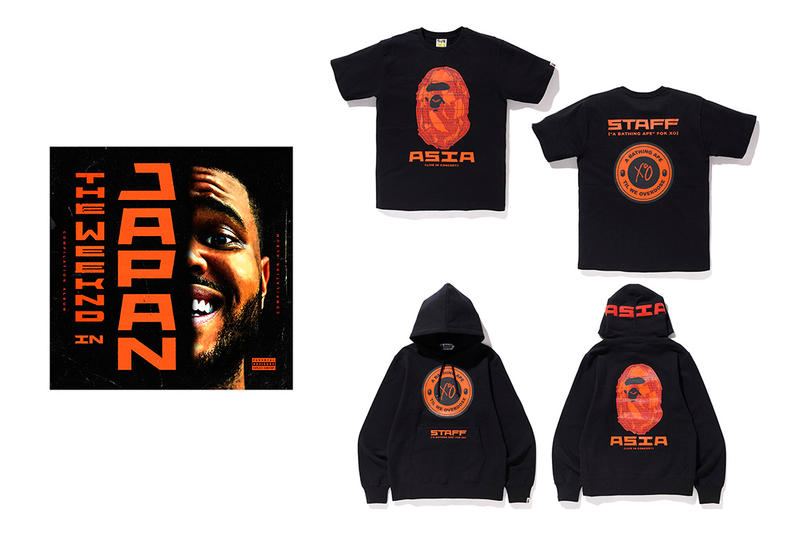 BAPE Japan Debuts Special The Weeknd Merch staff hoodie t-shirt tee black red the weeknd in japan singles cd