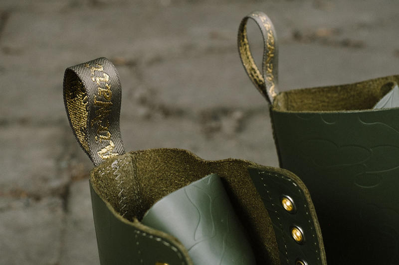 BAPE x Dr. Martens Steel Toe Boots Launch Event lookbook green black leather 10-eye and 3-eye boots