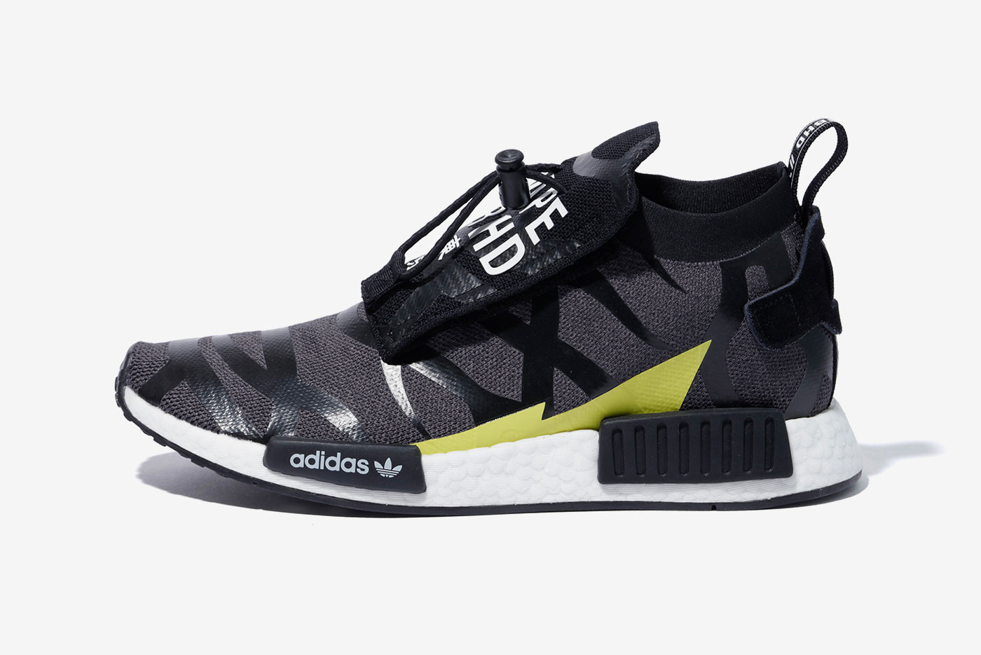 pretty nice 14d1a 521be BAPE x NEIGHBORHOOD x adidas Originals Release nmd pod shark face motif  black white 1st camo