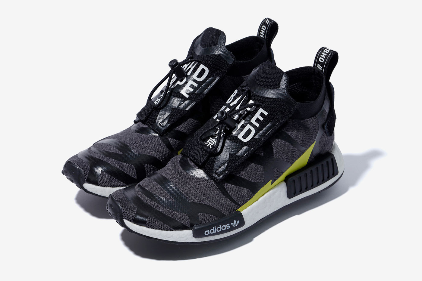 pretty nice dca7b 7299d BAPE x NEIGHBORHOOD x adidas Originals Release nmd pod shark face motif  black white 1st camo
