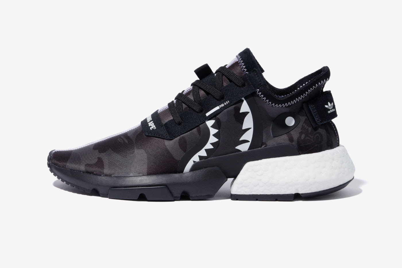 BAPE x NEIGHBORHOOD x adidas Originals Release nmd pod shark face motif black white 1st camo