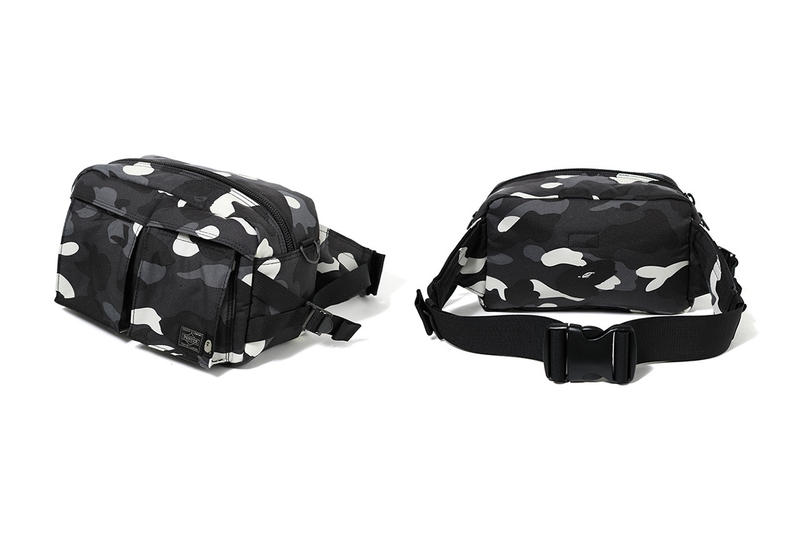 bape porter glow in the dark city camouflage waist shoulder bag fanny pack drop release date info black print december 15 2018