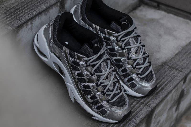 Blends PUMA CELL Endura Collaboration Sneaker metallic silver drop release date info january 24 2019 closer look