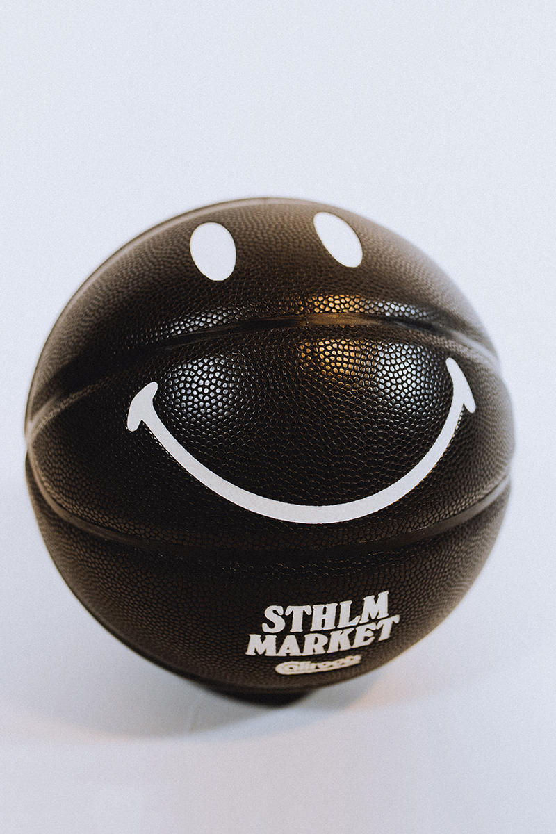 chinatown market caliroots collaboration exclusive tee shirt basketball smiley face black stockholm december 17 2018 release date info buy glow in the dark
