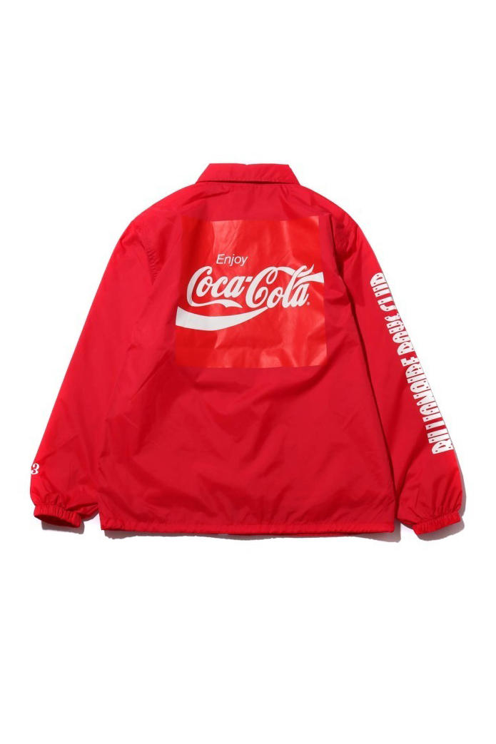 billionaire boys club atmos lab coca cola collaboration capsule drop release date info coaches jacket tee shirt sweater logo advertisement print red white black graphic december 29 2018 japan