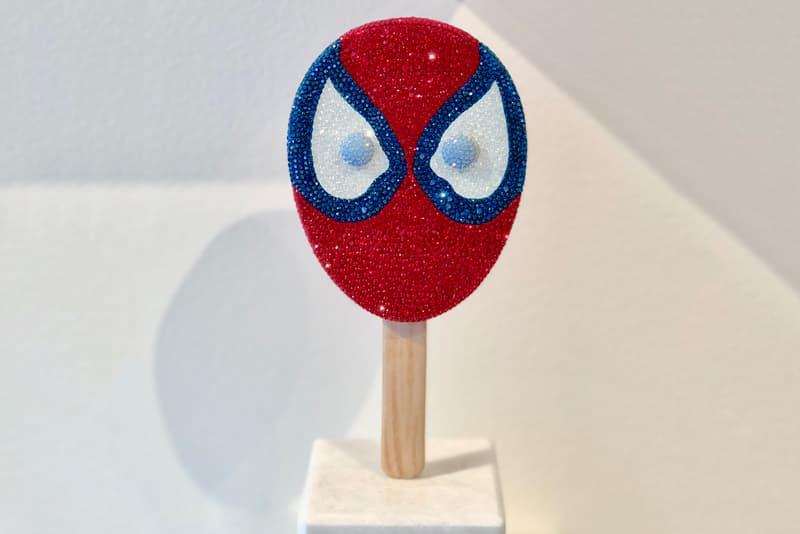 dan life spider man pop rotating sculpture crystal encrusted artwork