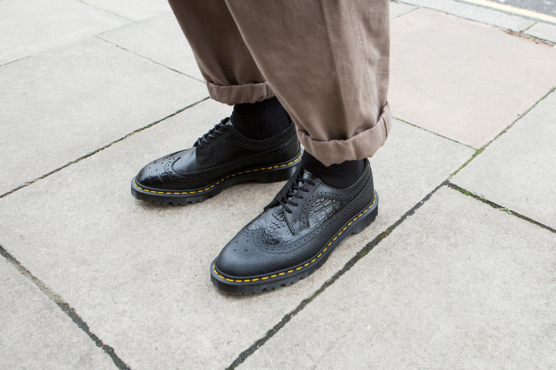 Engineered Garments Dr. Martens Collab Restock irregular longwing brogue brown black colorway release buy drop release date december 22 2018