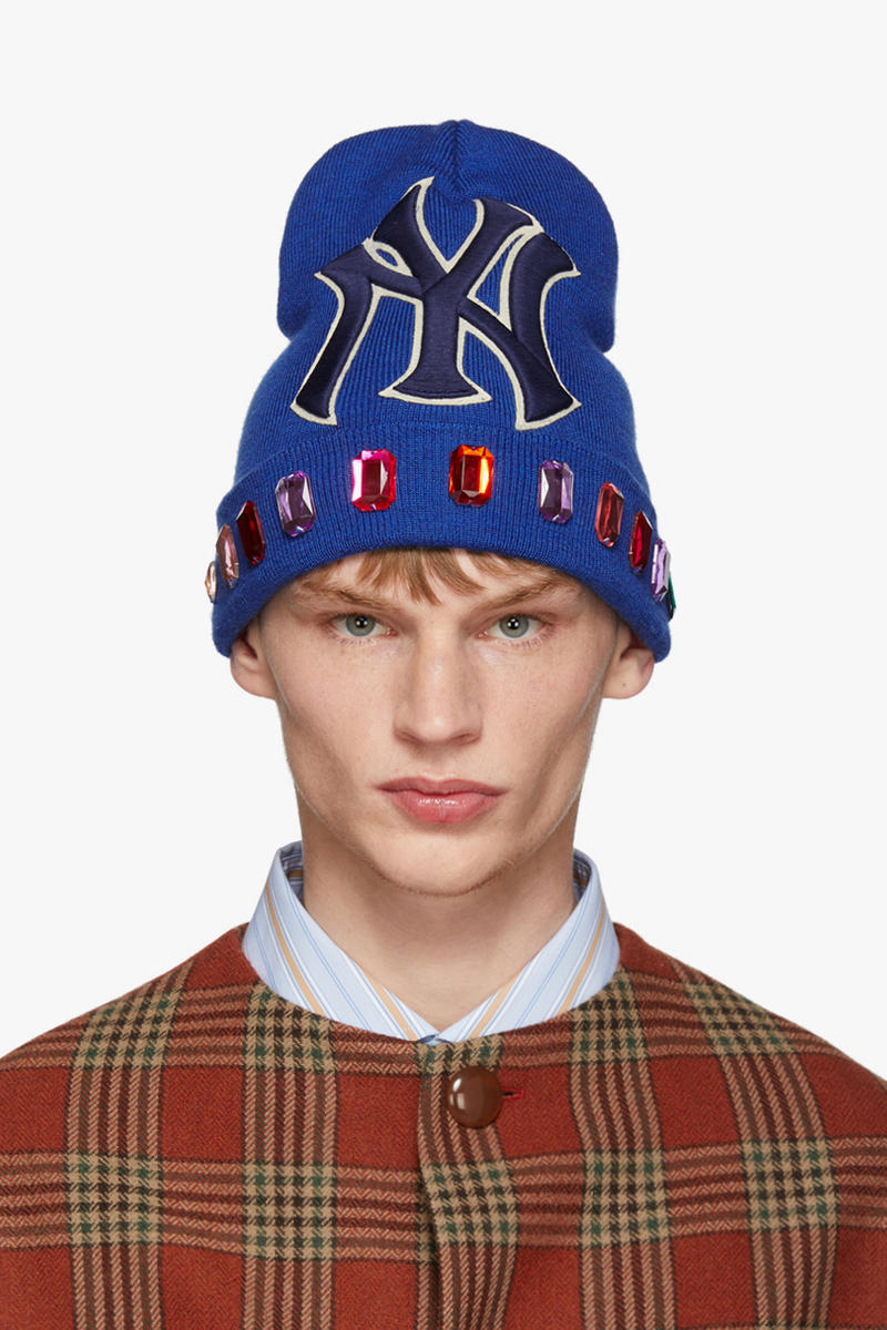 Gucci Blue Crystal NY Yankees Edition Wool Beanie