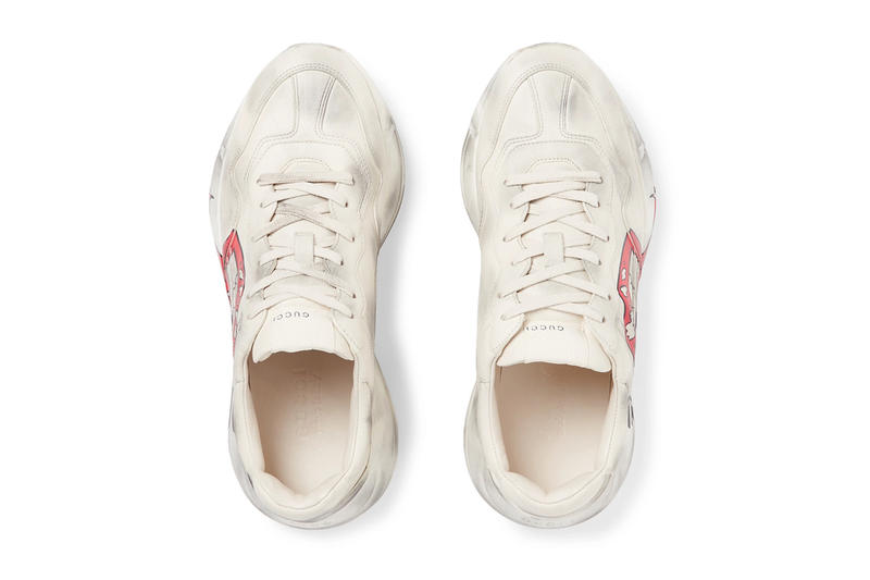 Gucci Rhyton Printed Distressed Leather Sneakers Kiss