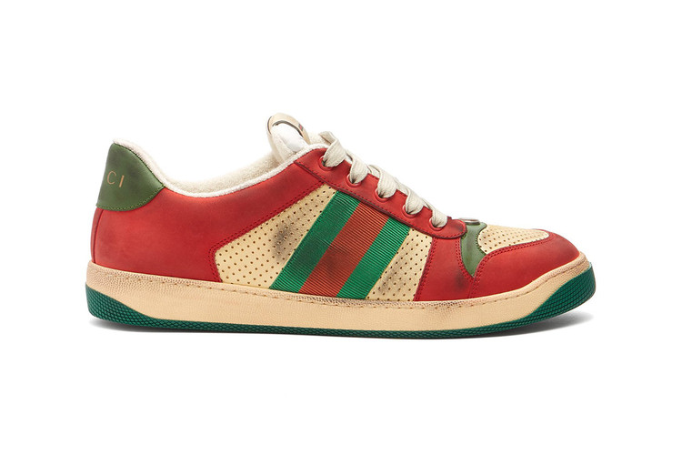 detailed look b4c25 3313d Gucci s Latest Pre-Distressed Sneaker Comes in Its Classic Red   Green ·  Footwear