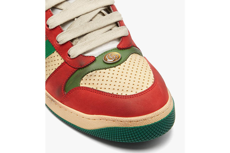Gucci Virtus Low Top Distressed Leather Shoe Details Shoes Trainers Kicks Sneakers Footwear Cop Purchase Buy MatchesFashion
