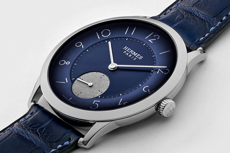 "Hermès Slim d'Hermès ""Edition HODINKEE"" Watches gmt time only drop release date info limited 100 24 december 13 2018 crocodile blue"