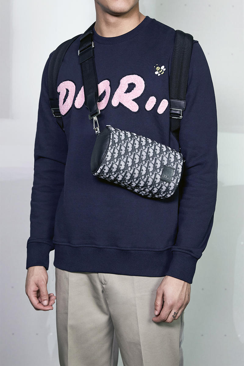 Kim Jones Dior Summer 2019 Mens Capsule Collection christian kaws saddle bag lookbook model sneakers hooded bomber jackets T-Shirts crewnecks trousers saddle bags waist bags signature bee