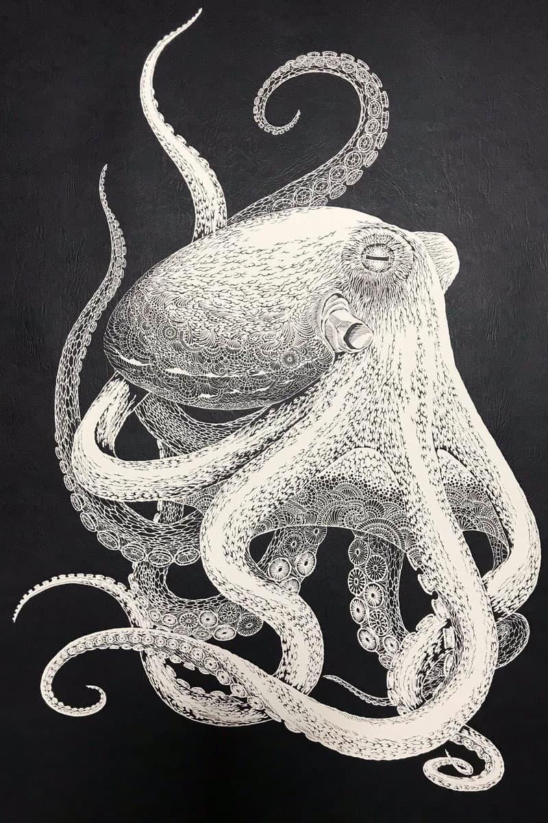 Masayo Fukuda's Intricate Octopus Kirie Cut-Out art paper handmade japan artist 切り絵 octopi 2018