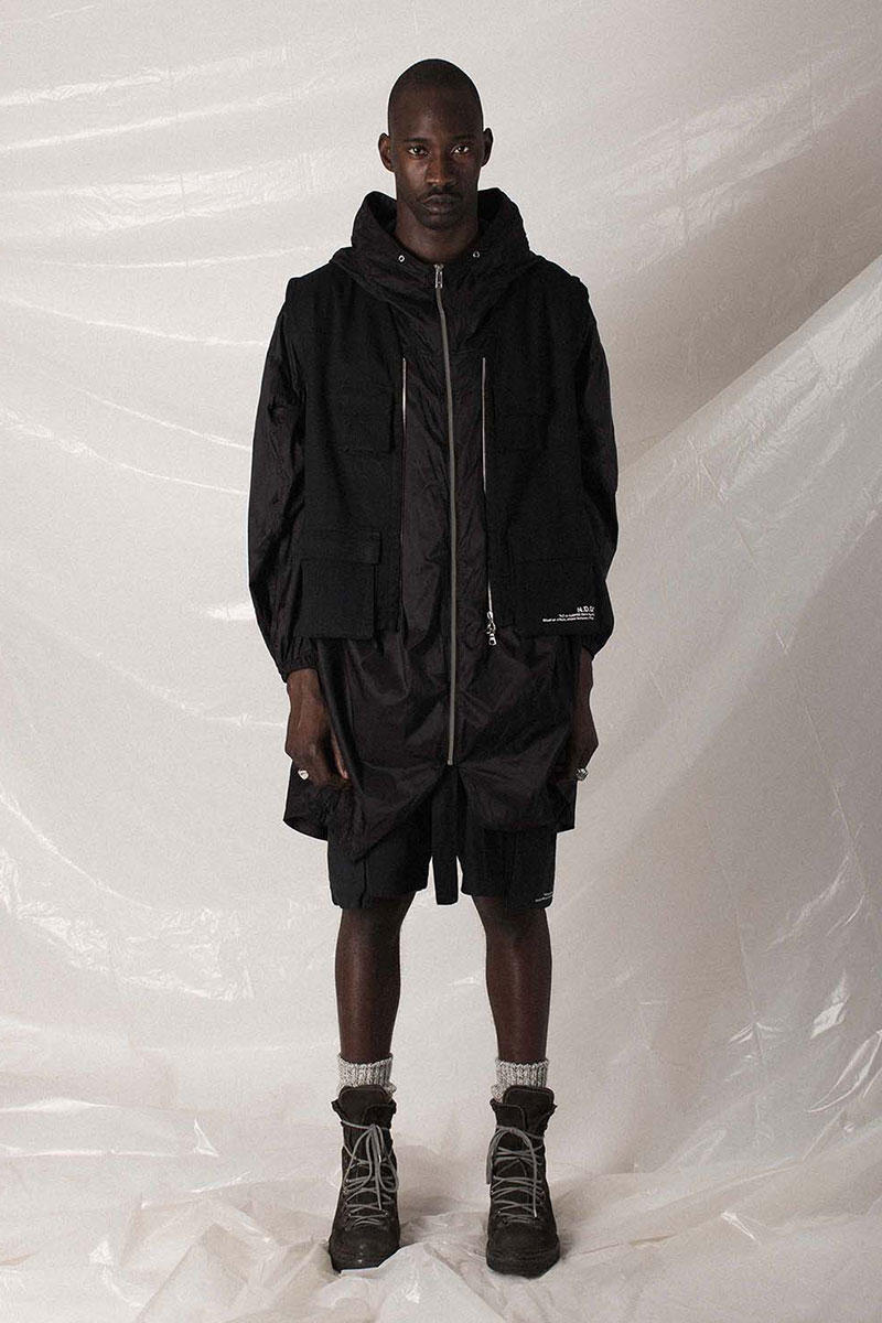 "N.D.G. studio ""Code de Travail"" 2019 Collection lookbook fashion streetwear menswear style release date purchase chest pack cargo pants jumpsuit t shirt sherpa vest hoodie"