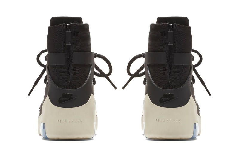 "Nike Air Fear of God 1 ""Black/black"" Release Date official images info price canvas off white sole sneaker high top jerry lorenzo december 2018"