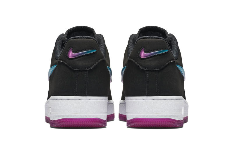 "Nike Air Force 1 '07 Premium ""Active Fuchsia"" Oversized Jewel Swoosh gradient black pink blue colorway sneaker release date info price stockist Color: Black/Active Fuchsia-Blue Lagoon-White Style Code: AT4143 001"