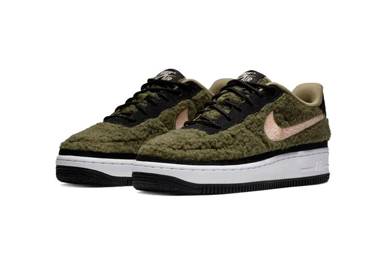 nike air force 1 faux shearling olive canvas black crimson tint 2018 december nike sportswear footwear gs