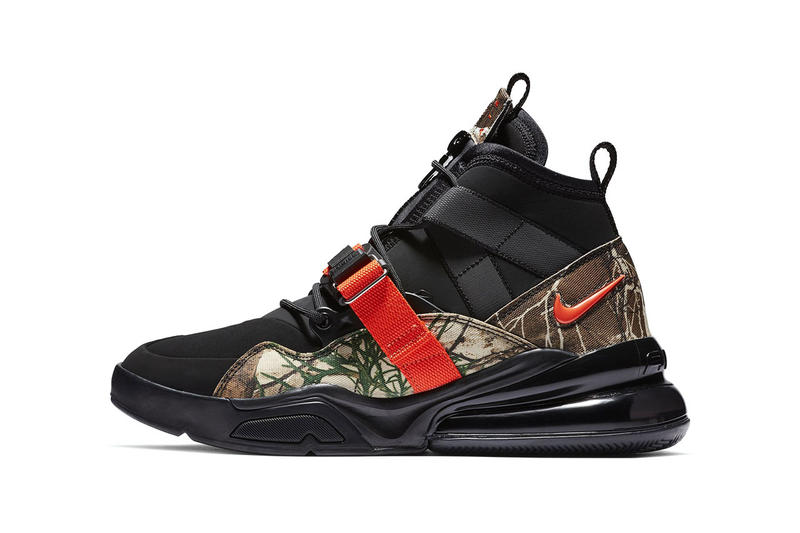 nike air force 270 sneaker drop release date info colorway pattern camouflage orange 2019