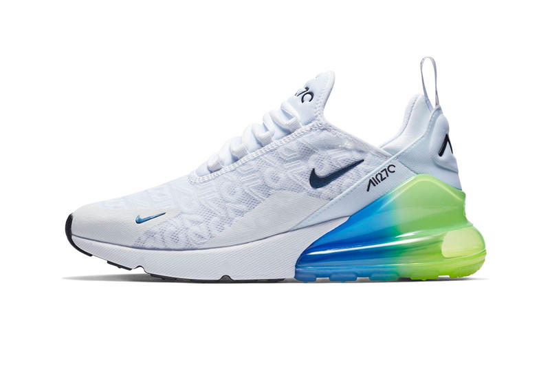 newest f5e2c 94745 Nike Air Max 270 Logo Release Date White Explosion Green Yellow Info