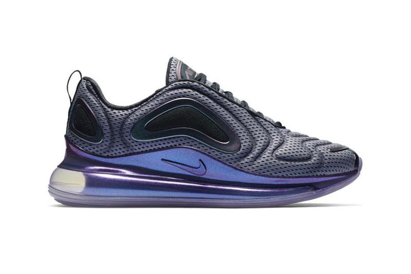 Nike Air Max 720 Aurora Boreal Primavera 2019 Aurora Boreal Sapatilhas Formadores Old School Retrô Sportswear Kick Air Retrocesso Cores Metallic Northern Lights Preto Roxo