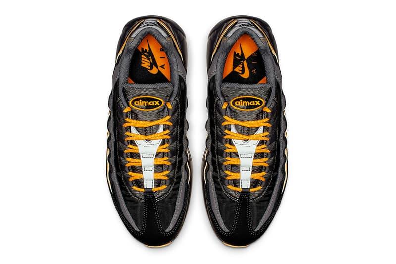Nike Air Max 95 Essential Black & Orange colorway sneaker release date info price multi texture textile grey snakeskin
