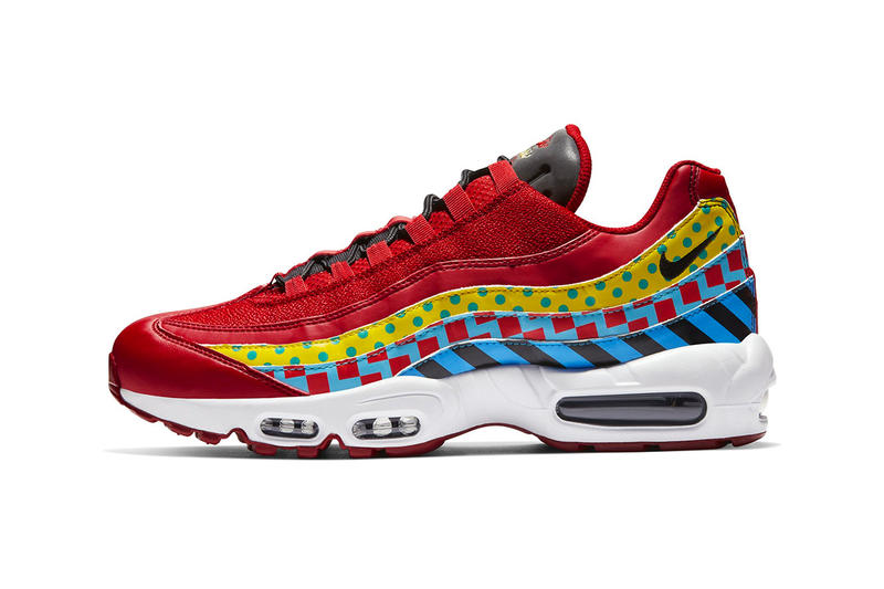 low priced 0278a 7e711 Nike Air Max 95 Essential Carnival Colorway red yellow blue print  multicolor release date info price