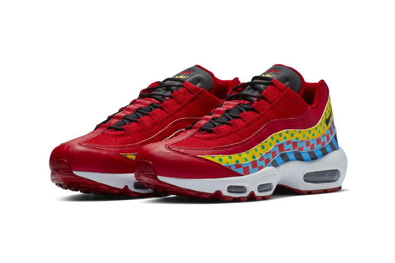 Nike Air Max 95 Essential Carnival Colorway red yellow blue print multicolor release date info price sneaker premium leather