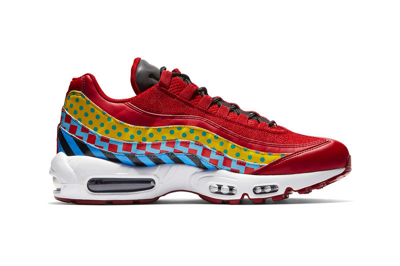 low priced efbf4 e2941 Nike Air Max 95 Essential Carnival Colorway red yellow blue print  multicolor release date info price