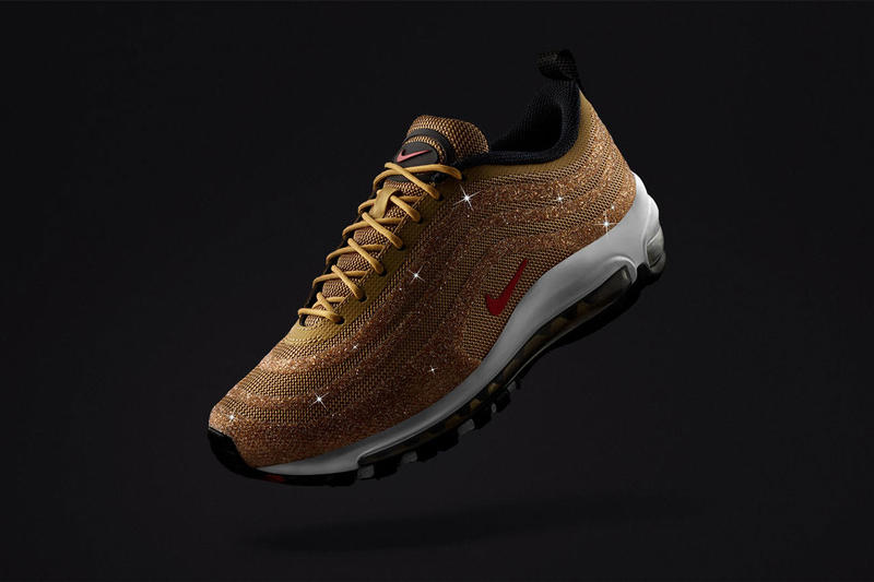purchase cheap 1abfd d08ed nike air max 97 lx metallic gold swarvoski 2018 december footwear sneakers  shoes red black sportswear