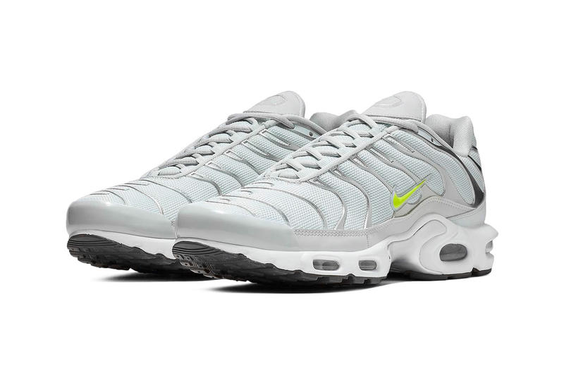 "Nike Air Max Plus ""Grey/Volt"" Release Date grey silver mesh neon green sneaker  closer look buy cop purchase details"