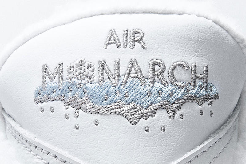 nike air monarch iv snow day release date 2018 december footwear nike sportswear sherpa lining orange blue outsole icey ice snowflake