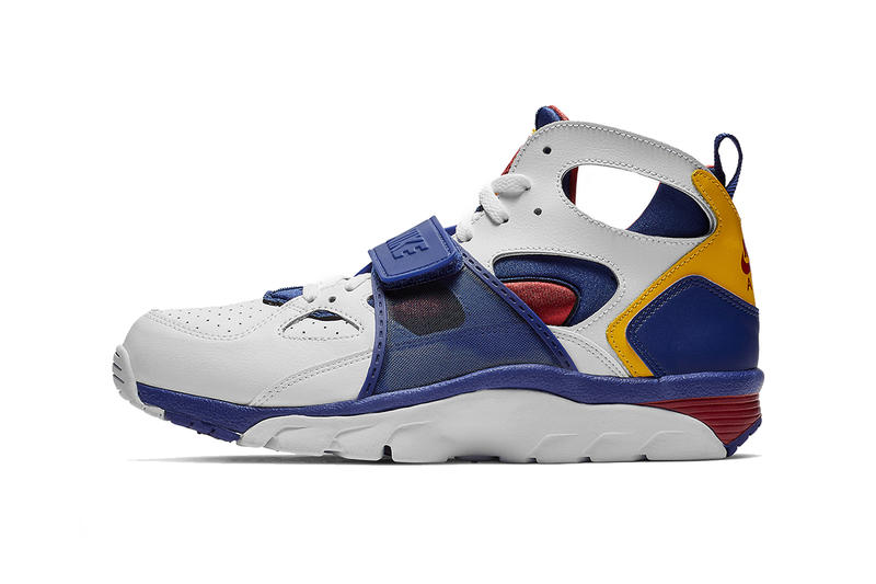 nike air huarache trainer nike sporstwear white blue yellow red footwear