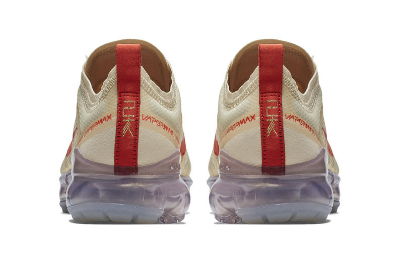 Nike Air Vapormax 2019 Chinese New Year Exclusive Shoes Kicks Sneakers Footwear Trainers Cop Purchase Buy US11 Pure Platinum Metallic Gold Colorways First Closer Official Look