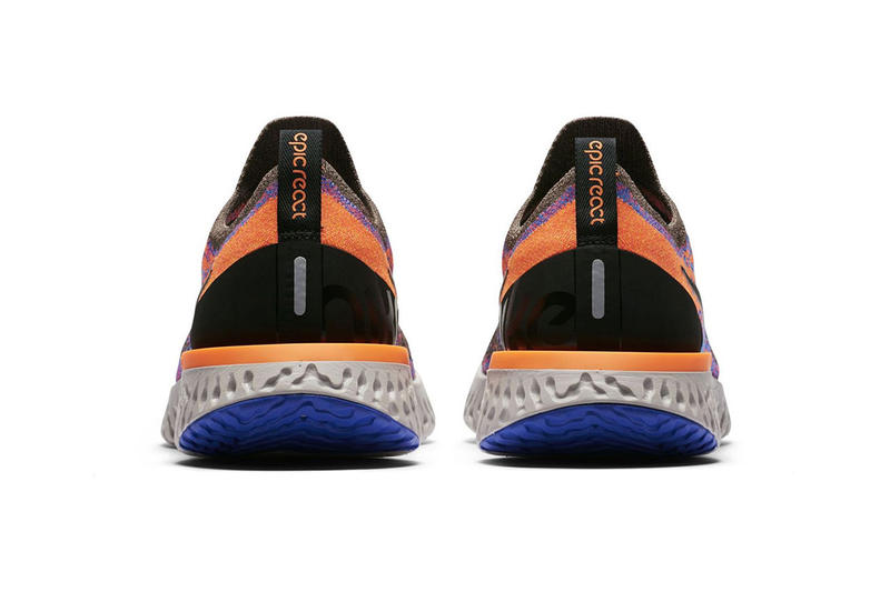 Nike Epic React Flyknit Mink Brown Release Date Shoes Trainers Kicks Sneakers Cop Purchase Buy Footwear orange blue