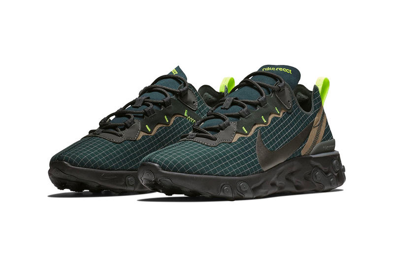 Nike React Element 55 Dark Green Colorway first look black sole unit release date info price sneaker