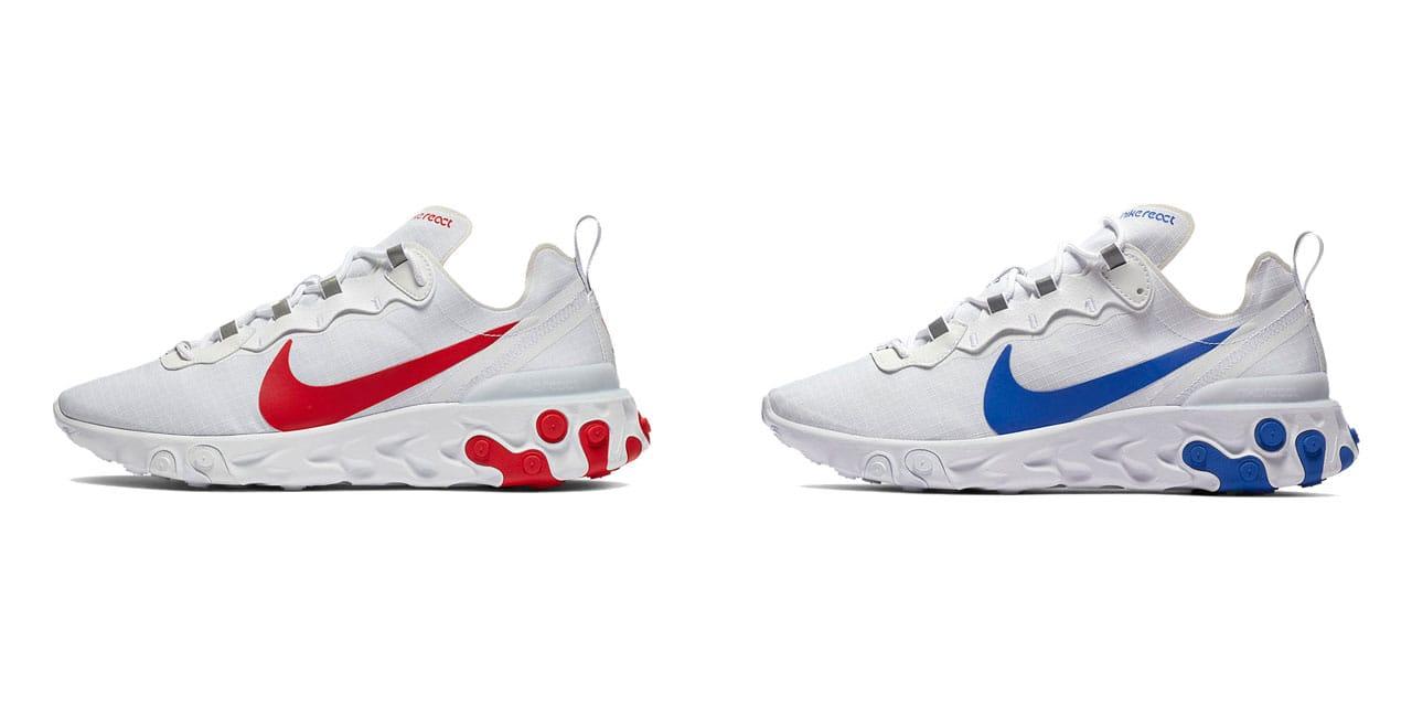 Nike React Element 55 in White \u0026 Red