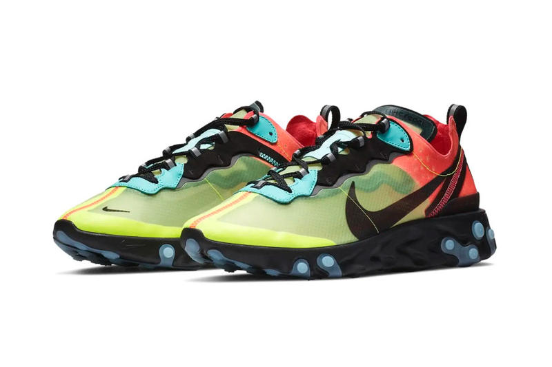 "Nike React Element 87 ""Volt/Racer Pink"" Release swoosh"