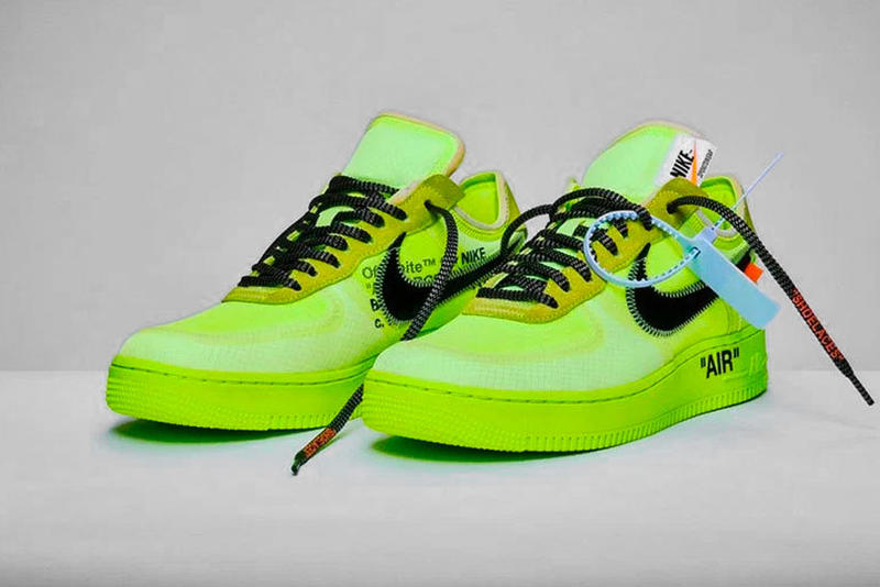 official photos c221a 0f7ad Nike Off White Air Force 1 af1 Black Cone Volt Release december 19 2018  price black