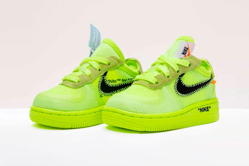 Nike Off White Air Force 1 af1 Black Cone Volt Release december 19 2018 price black neon yellow Virgil Abloh AO4606-001 AO4606-700 Kids Toddler GS CS