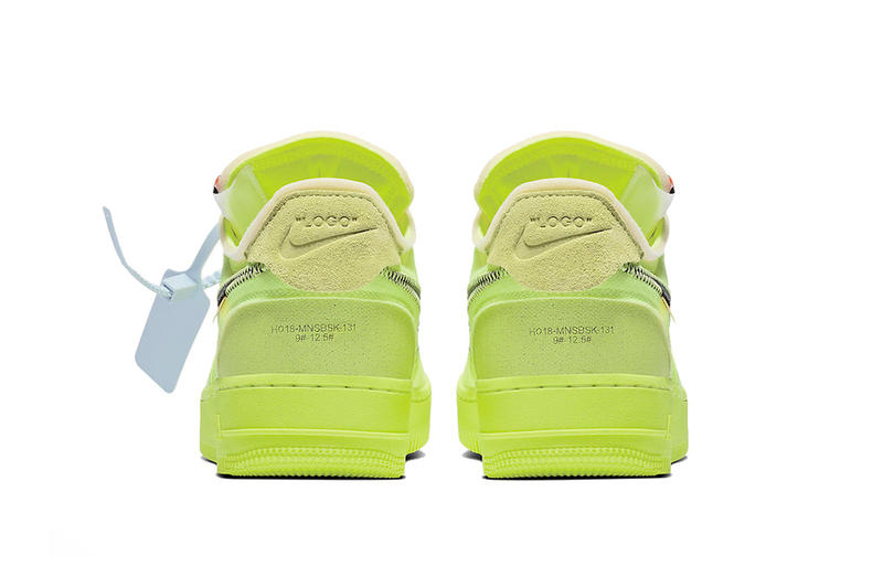 off white nike air force 1 volt 2018 december clean look footwear nike sportswear virgil abloh