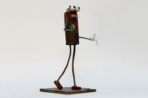 Paul Insect & Bast Release Collaborative 'Can Man' Bronze Sculpture