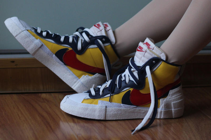 sacai nike blazer with the dunk collaboration blue yellow colorway on foot closer look release drop date info
