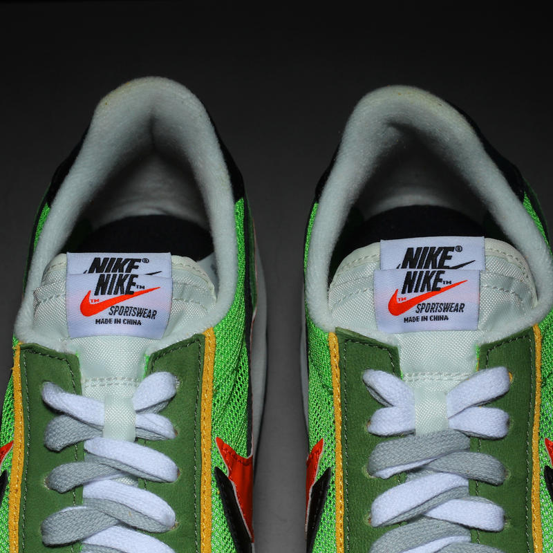 sacai x Nike LDV Waffle Daybreak Closer Look red yellow lime green suede