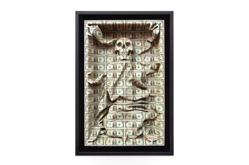 scott campbell all the freedoms we have over the influence hong kong exhibition dollar bill cut sculptures