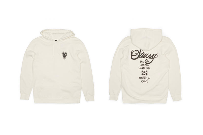 Stüssy's Dover Street Market World Tour Pack t-shirts tees crewnecks hoodies black white cream greay